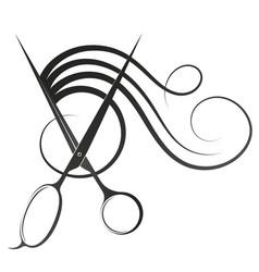 Stylist scissors and curls hair symbol vector
