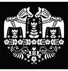 Swedish Dala or Daleclarian horse floral pattern vector