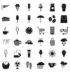 Teabag icons set simple style vector