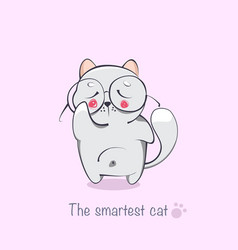 the smartest cat cartoon animals vector image