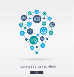 transportation integrated thin line web icons in vector image