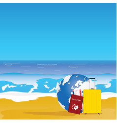 travel background with red passport and yellow bag vector image