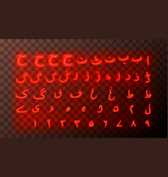 urdu alphabet letters red neon signs vector image