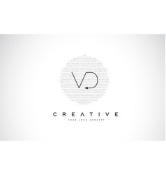 Vd v d logo design with black and white creative vector