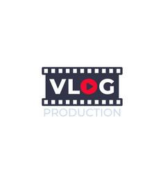 vlog video blogging logo with film strip vector image
