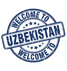 Welcome to uzbekistan blue round vintage stamp vector