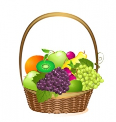 wicker basket with fruit vector image