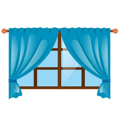 Window with blue curtain vector