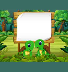 Wooden board blank space with two turtle vector