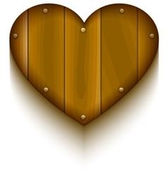 Wooden heart symbol of love vector image