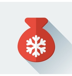 Simple Santa bag icon in flat style vector image vector image