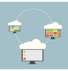 Three computer with clouds vector image