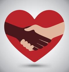 Diversity Handshake On Red Heart vector image vector image