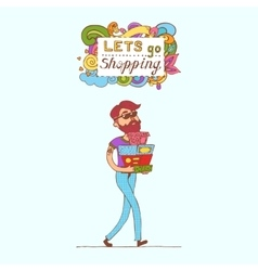 Happy doodle Consumer with a full shopping bags in vector image vector image