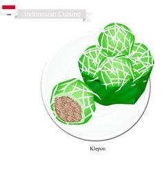 Klepon or Indonesian Stuffed Pandanus Rice Balls vector image vector image