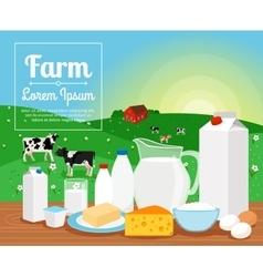 Milk farm dairy products vector