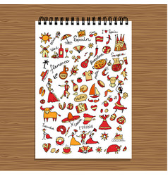 spain icons collection sketch for your design vector image vector image