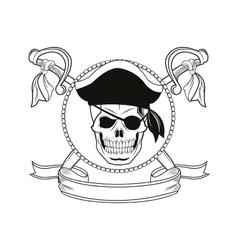 cartoon pirate tattoo design vector image vector image