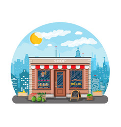 daily products shop in city vector image vector image
