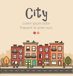 flat design modern urban landscape and city vector image vector image