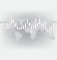 White candlestick chart showing trend background vector