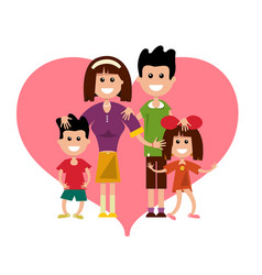 family with heart symbol isolated on white vector image