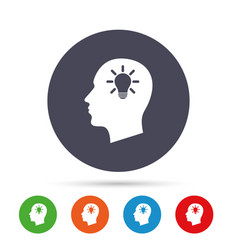 head with lamp bulb sign icon male human head vector image
