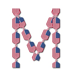 Letter M made of USA flags in form of candies vector image