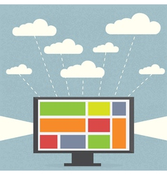 Monitor with clouds on blue background vector image