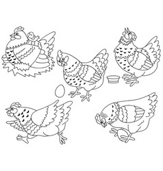set of hens chickens and eggs vector image vector image