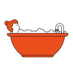 woman in the bathtub vector image