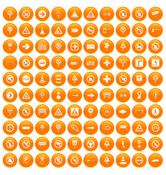 100 road signs icons set orange vector