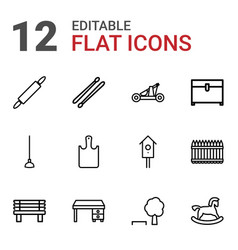 12 wooden icons vector image
