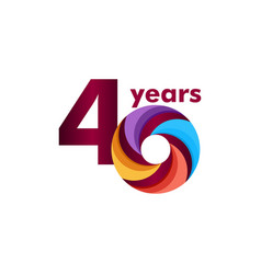 40 year anniversary colorful template design vector