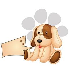 A cute dog with an empty rectangular template vector