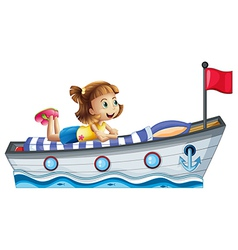 A girl lying above the ship with red flag vector