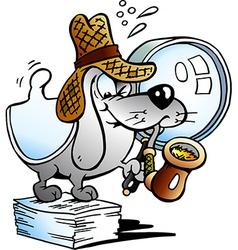 A Paper Dog Detective Mascot vector