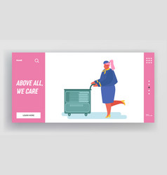 air hostess with food cart in plane website vector image