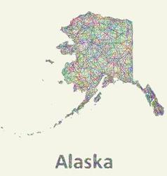 Alaska line art map vector
