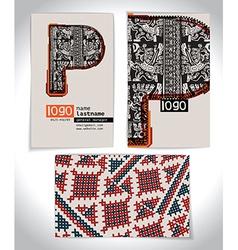 Ancient Business card design LETTER P vector