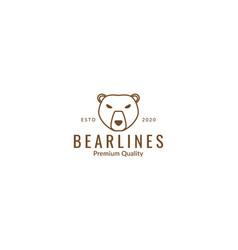 Angry bear head face line art outline cute vector