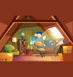 attic interior children playroom with vector image