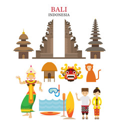 Bali indonesia landmarks and culture object set vector