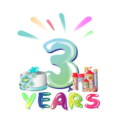 balloons on third anniversary vector image