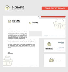 basket business letterhead envelope and visiting vector image