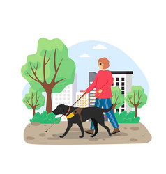 Blind woman walking with stick and guide dog in vector