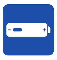 Blue white information sign - battery low icon vector