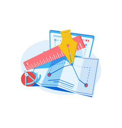 Blueprints drawings on paper vector