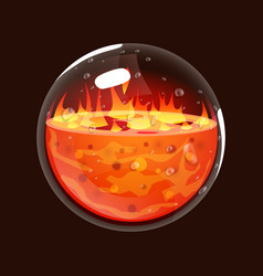 Bottle of fire game icon of magic orb interface vector