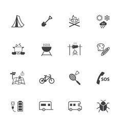 Camping and holiday activities icons vector